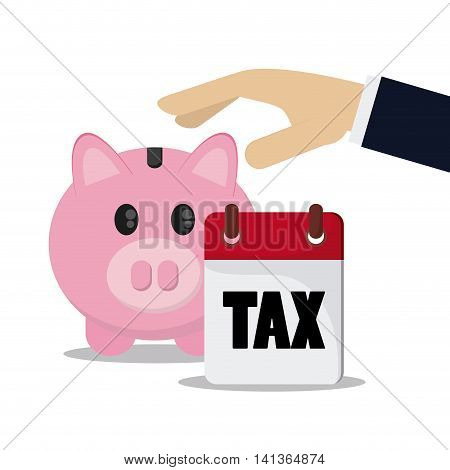 Tax and Financial item concept represented by piggy and calendar icon. Colorfull and flat illustration