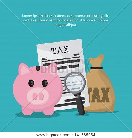 Tax and Financial item concept represented by piggy and document icon. Colorfull and flat illustration