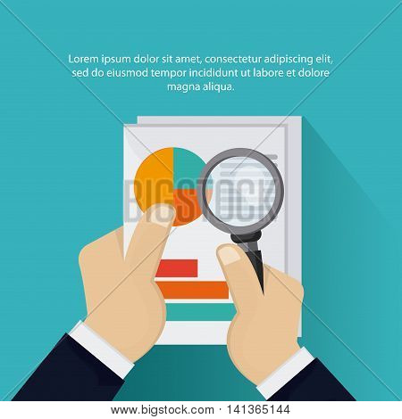 Tax and Financial item concept represented by document and lupe icon. Colorfull and flat illustration