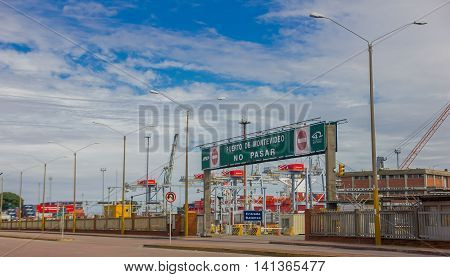 MONTEVIDEO, URUGUAY - MAY 04, 2016: entrance of montevideos port, it is located in rio de la plata and it is very important transit zone for the mercosur.