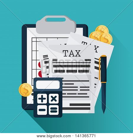 Tax and Financial item concept represented by document and calculator icon. Colorfull and flat illustration