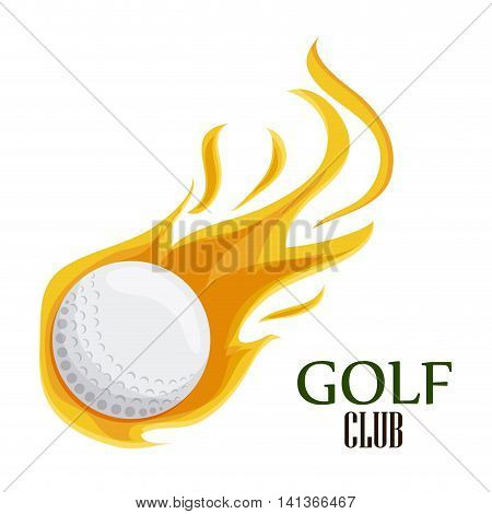 Gold sport concept represented by white ball with flame icon. Colorfull and flat illustration.