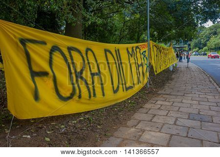 PORTO ALEGRE, BRAZIL - MAY 06, 2016: protest banner against the ex president of brazil, dilma rousseff.