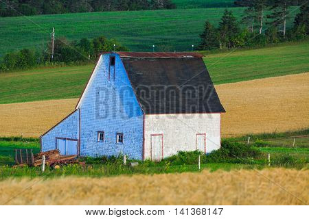 Small old rustic barn in rural Prince Edward Island, Canada.