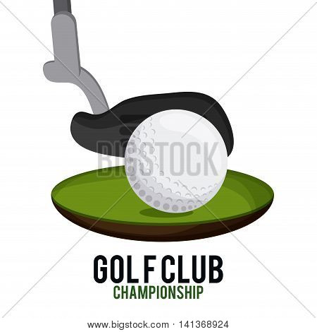 Gold sport concept represented by ball and club icon. Colorfull and flat illustration.