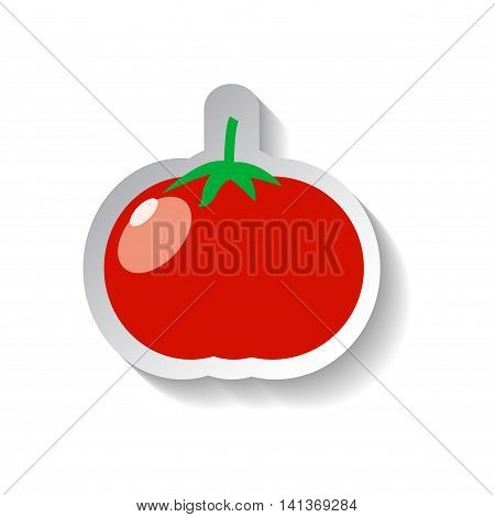 Tomato vector icon in flat style with shadow. Vegetable pictogram. Tomato illustration on white. Tomato isolated. Tomato cook ingredient. Healthy vegetarian food. Tomato logo patch background image