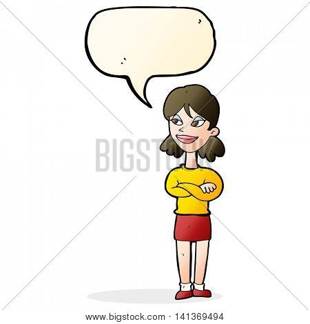 cartoon smug woman with speech bubble
