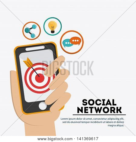 Social Network concept represented by smartphone and icon set design. Colorfull and flat illustration