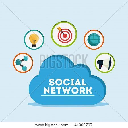 Social Network concept represented by cloud and icon set design. Colorfull and flat illustration