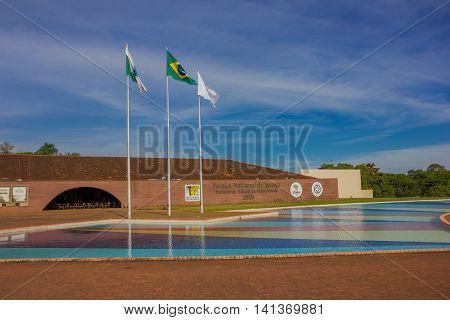 IGUAZU, BRAZIL - MAY 14, 2016: entrance to the national park od iguazu located in the soutern state of parana.