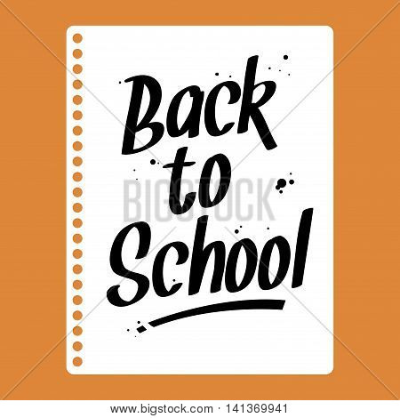 Vector stock of back to school message written on a sheet of paper