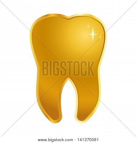 Vector stock of one shiny golden tooth