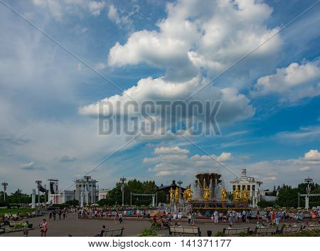 MOSCOW - AUGUST 01, 2016: View of VDNH park in Moscow. Popular touristic landmark. Fountain Friendship of Peoples.
