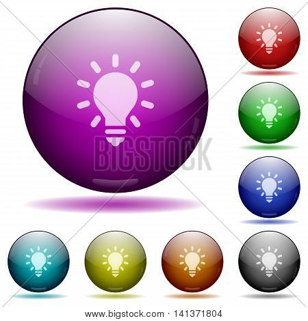Set of color Lighting bulb glass sphere buttons with shadows.