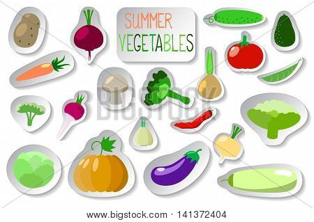 Vegetables clip art in flat style on white. Vegetables stickers design elements patches or icons. Set of summer vegetables