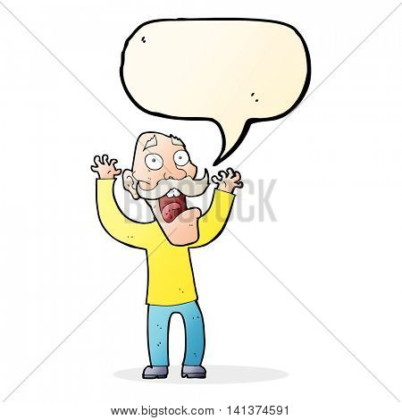 cartoon old man getting a fright with speech bubble