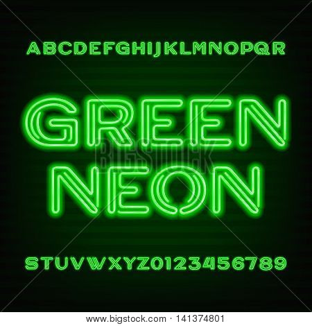 Neon tube alphabet font. Green type letters and numbers on a dark background. Vector typeface for your design.