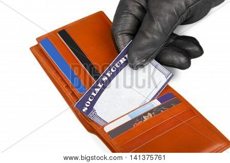 Hand in Glove Stealing a Social Security Card from a Wallet