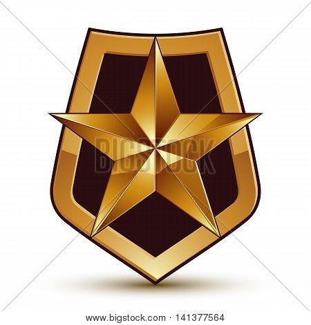 Vector stylized symbol isolated on white background. Glamorous pentagonal golden star