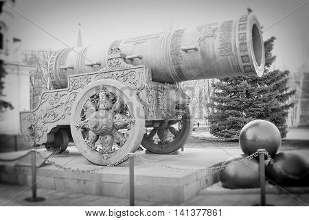 Tsar-Bell in Moscow Kremlin. UNESCO World Heritage Site.  Black and white photo