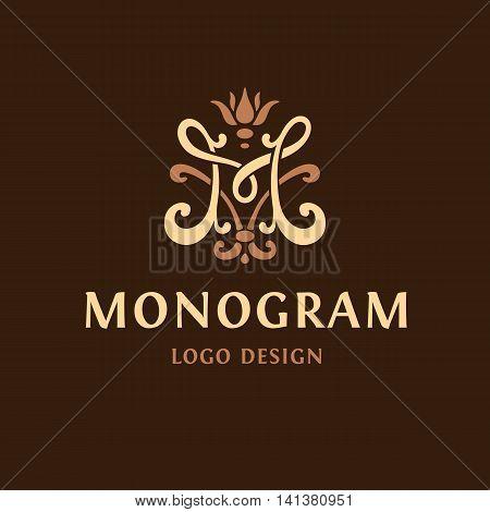 Monogram logo Emblem. The letter M vintge