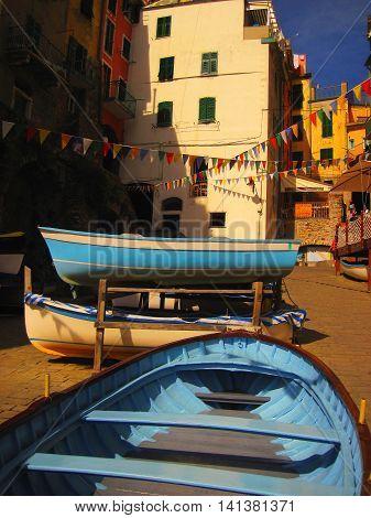Street scene from the town of Riomaggiore in Cinque Terre.