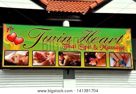 Patong City / Phuket Thailand - January 6 2011: Sign for the Twin Heart Thai Spa and Massage on Soi Paradise