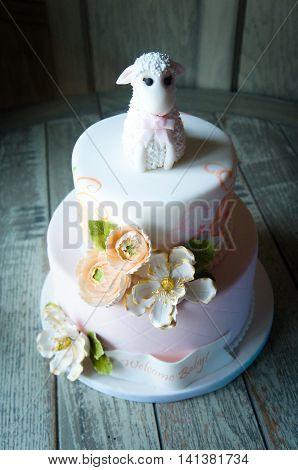 Cute Baby Shower Fondant Lamb Cake Topper