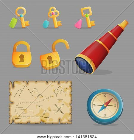 Collection of items for treasure hunting journey and navigation. Accessories for treasure hunting journey, ancient map, compass, spyglass a collection of key and padlocks. Game and app ui icons.
