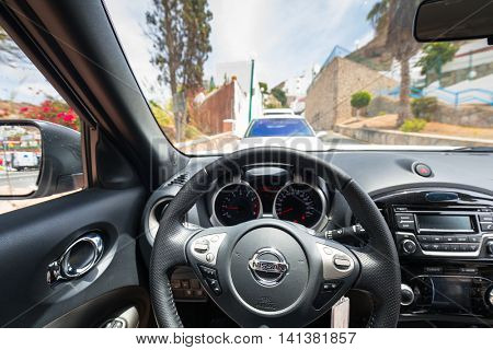 GRAN CANARIA, SPAIN - APRIL 21, 2016: Interior of new Nissan Juke, city cross over vehicle. The Nissan Juke is a mini sport utility vehicle (SUV) produced by the Japanese manufacturer Nissan.