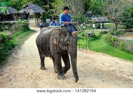 Chiang Mai Thailand - December 26 2012: A mahout rides his elephant along a dirt road at the Baan Tang Luan Cultural Village
