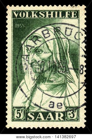 Germany, Saarland - CIRCA 1955: a stamp printed in the Saar, Germany shows painting by Albrecht Dürer, portrait of the artist's mother at the age of 63 , circa 1955