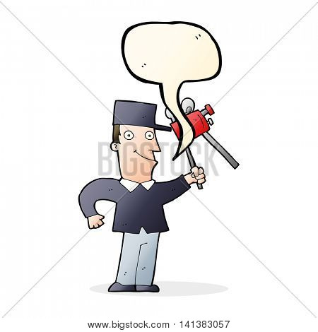 cartoon film maker with speech bubble