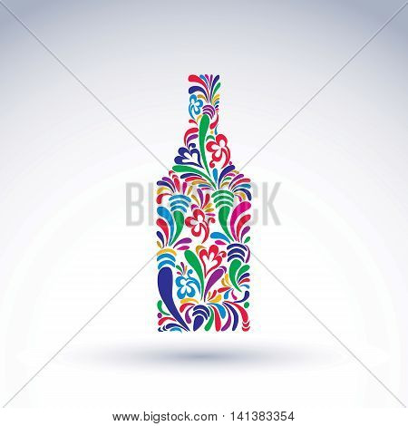Bright flowery alcohol bottle. Stylized glassware symbol with abstract ethnic pattern.