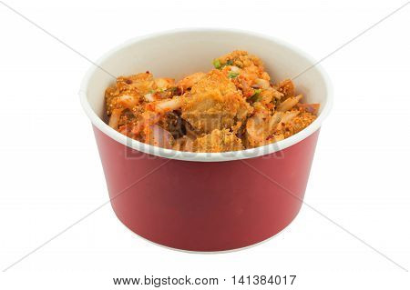 hot and crispy fried chicken in box