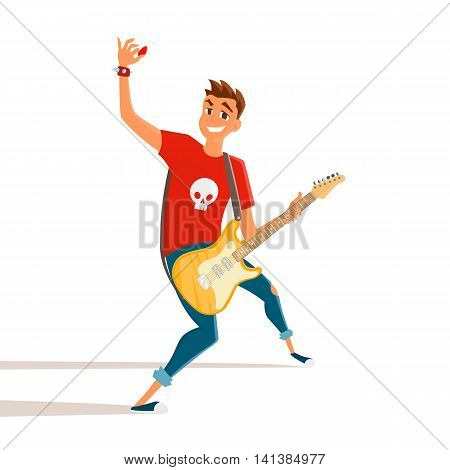 Cartoon electric guitar player. Teenage guitarist shows hand up. Vector illustration of young person holding electric guitar.