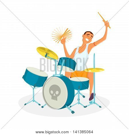 Drummer playing drums. Teenage drum player. Cartoon vector illustration