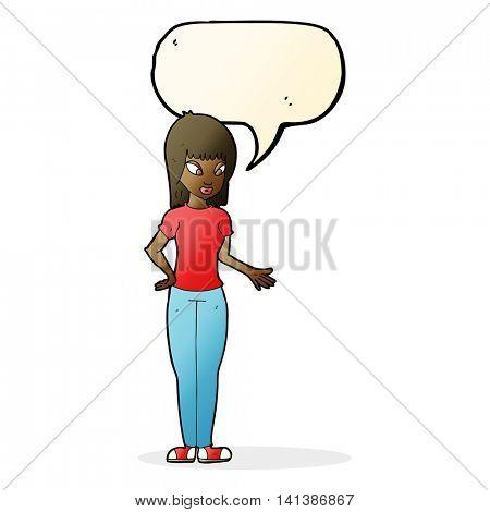 cartoon woman explaining with speech bubble poster