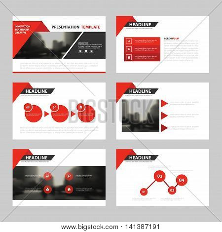 Red triangle presentation templates Infographic elements template flat design set for annual report brochure flyer leaflet marketing advertising banner template