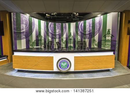 LONDON,THE UK-MAY 2016: In the press room at Wimbledon  courts
