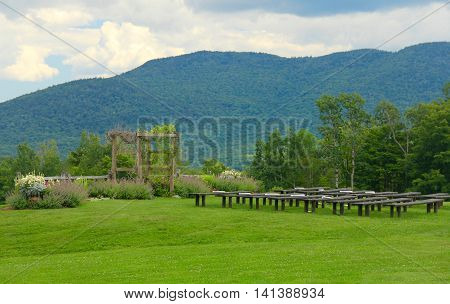 Wedding knoll in Green Mountains of Vermont. A place where weddings are performed.