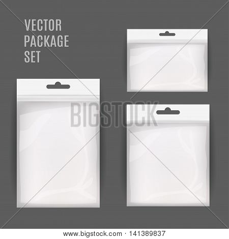 White Blank Plastic Realistic Pocket Bag Set. Hang Slot. Vector Illustration Isolated . Mock Up Template Ready For Your Design.