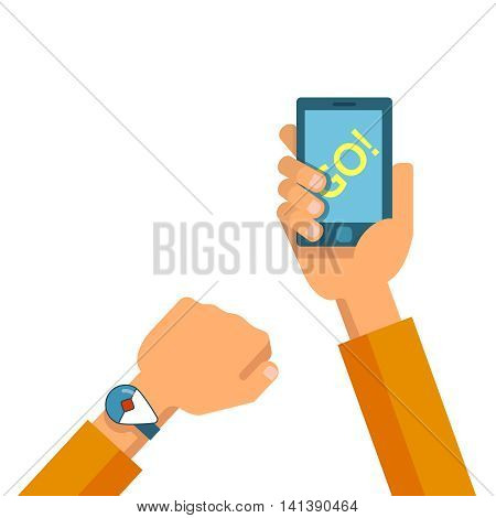 Vector flat illustration of set phones in the hands. Concept of design playing video game pokemon go
