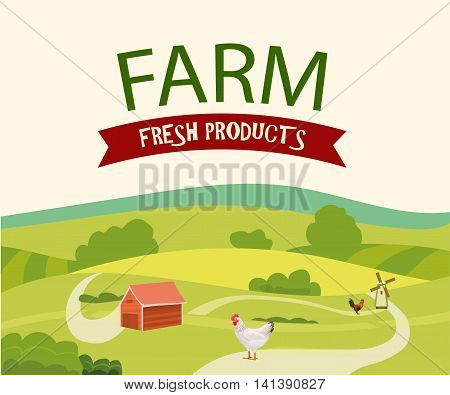 Rural Farm Landscape with Hen and Rooster . Vector Illustration.
