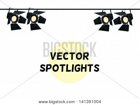 Realistic Spotlights. Light Effect. Scene Studio Show. Isolated Vector Illustration on White Background