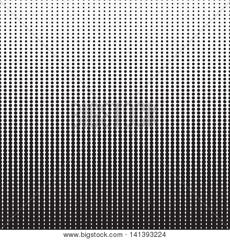 Halftone dots pattern. Dotted gradient background with fade effect. Black circles on white. Horizontally seamless. Vector illustration in EPS8.