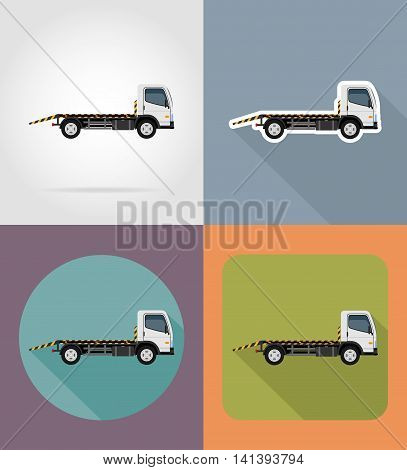 tow truck for transportation faults and emergency cars flat icons vector illustration isolated on background