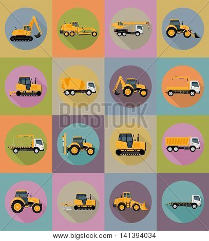 automobile transport for repair and construction flat icons vector illustration isolated on background