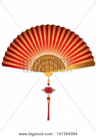 Plain red and gold Chinese fan on white background