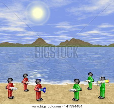 Toy soldiers with weapon in sunny landscape